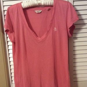 Original Penguin short-sleeve Coral top, size M
